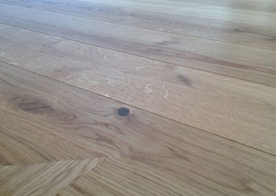 Character grade oak 180mm wide planks with bevelled edges and oiled finish