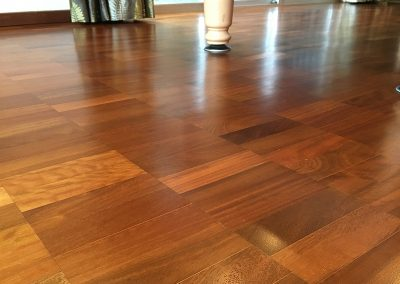 Iroko parquet block flooring sanded and restored with a satin oil near Mansfield Nottingham