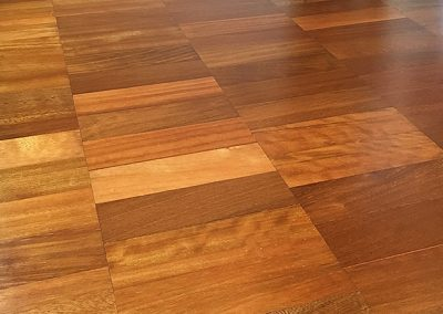 Iroko parquet flooring with an oiled finish