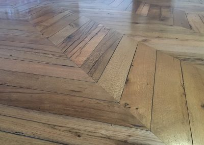 Oak chevron parquet flooring with a stained and hardwax oil finish near Nottingham