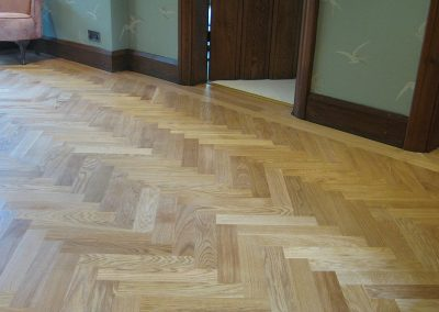 Oak parquet floor fitted in a hallway in Nottinghamshire
