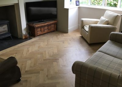 Oak herringbone parquet flooring finished with Blanchon Environment Oil Bare in Nottingham