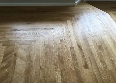40mm wide solid Oak parquet strip flooring with Dutch mitred corners in Beeston Nottingham