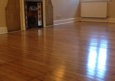 Old pine flooring stained and lacquered