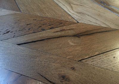 Reclaimed oak chevron floor