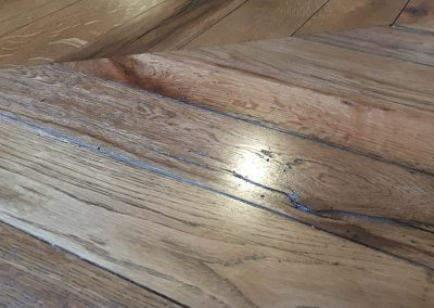 Reclaimed oak chevron flooring stained and oiled near Southwell