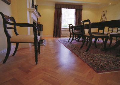 Solid beech herringbone parquet floor in a dining room near Southwell Nottinghamshire