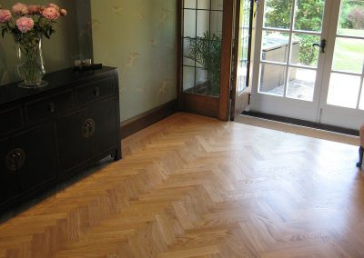 Oak herringbone parquet supplied and fitted in a hallway near Nottingham