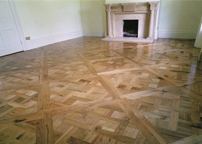 Solid oak versaille panel floor with a clear natural finish in Nottingham