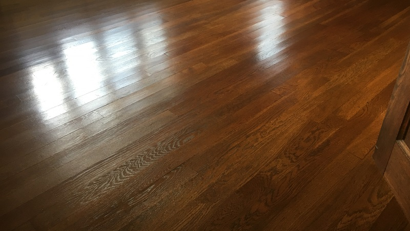 Solid Oak Wood Flooring after restoring with a traditional wax polish in Mansfield Nottinghmashire