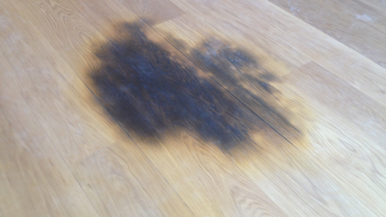 Solid Oak hardwood flooring damaged by dog urine before its invisible repair