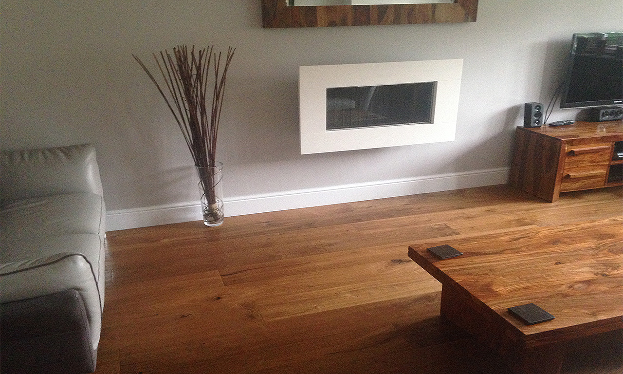 Kahrs Artisan Range Oak Earth prefinished engineered wooden flooring in a sitting room