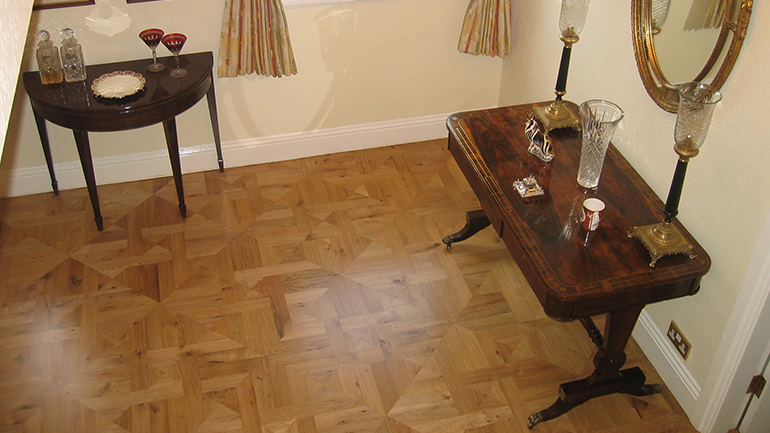 Oak parquet wood flooring panels in Halam Nottinghamshire