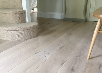 Engineered hardwood flooring. Oak with a white oil finish