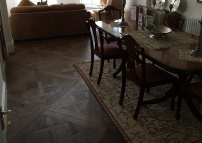 Versailles Antique HW1391 - Engineered Oak; Versailles pattern; fine aged; oiled finish, worn edge. Supplied and fitted in a dining room in Epperston Nottingham